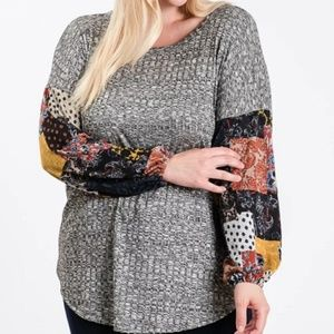 Sweaters - Plus Size Grey Sweater with Patchwork Sleeves